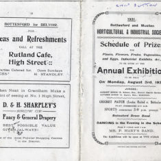 Bottesford Horticultural & Industrial Society Exhibition, 1931, programme