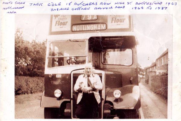 Jack Cole, Bottesford bus driver, about 1963, by his bus bound for Nottingham | From the collection of Philip Sutton