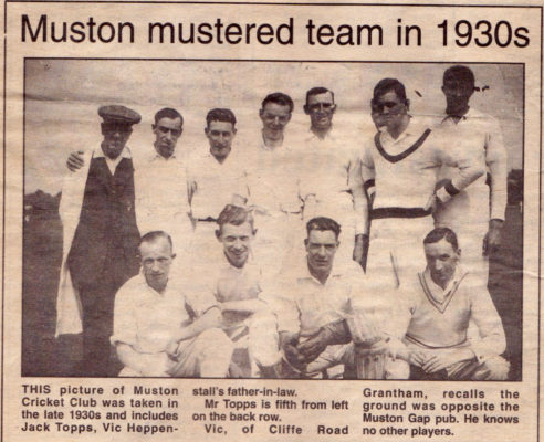 Press cutting showing the Muston cricket team in the 1930s | Press cutting