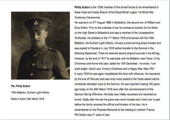 Pte. Philip Sutton summary biography