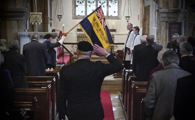 Saluting the Hose and hardy Branch Royal British Legion Standard, St Guthlac's Church Remembrance Service, 24th March 2018 | BCHG (DM)