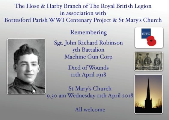 Sgt. John Richard Robinson Centenary Commemoration Notice