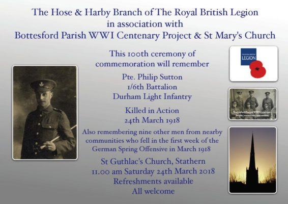 Pte. Philip Sutton Centenary Notice