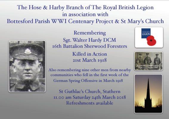 Sgt. Walter Hardy Centenary Notice