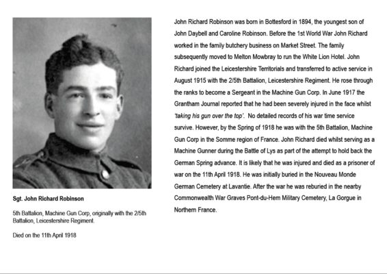 Sgt. John Richard Robinson - summary biography