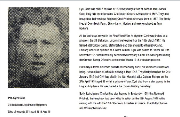 Remembering Pte Cyril Gale