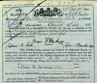 Joseph Spick's general military conduct record, upper part   The National Archive