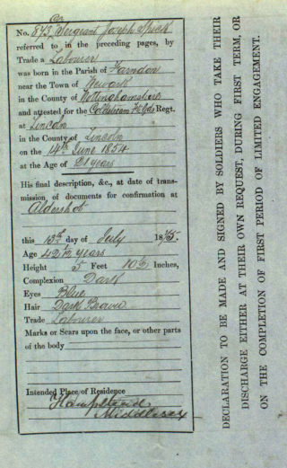 Declaration completed by Spick Joseph at his discharge from the army in 1875.   The National Archive