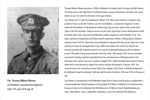 Pte. Thomas Skinner Summary Biography