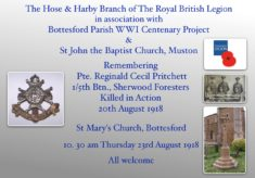 Remembering Pte., Reginald Cecil Pritchett, 1/5th Btn., Sherwood Foresters, Nott., & Derby Regiment