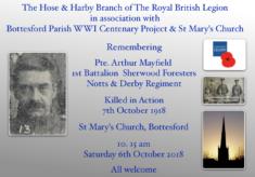 Remembering Pte. Arthur Mayfield,  1st Battalion Sherwood Foresters (Notts. & Derby Regiment)