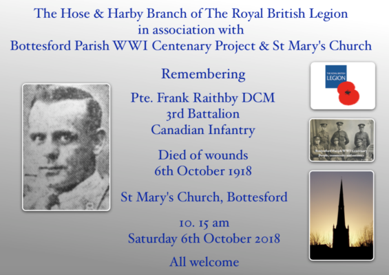 Remembering Pte. Frank Raithby DCM, 3rd Battalion, Canadian Expeditionary Force