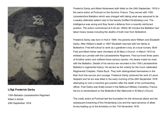 Remembering L/Sgt. Frederick Darby, 1/5th Battalion, Leicestershire Regiment