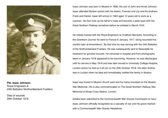 Remembering Pte. Isaac Johnson, 24th Battalion Northumberland Fusiliers