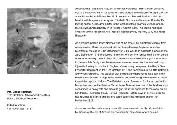 Remembering Pte. Jesse Norman, 11th Battalion, Sherwood Foresters, Notts., & Derby Regiment