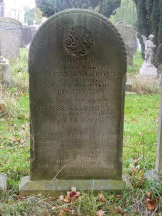 Gravestone commemorating James and Florence Allcroft, and their son Cadet George Allcroft who died in 1918, aged 18. | Neil Fortey 2018