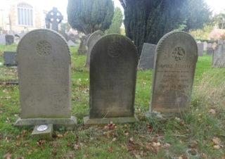 The three Allcroft family headstones in St Mary's graveyard, Bottesford. | Neil Fortey, 2018