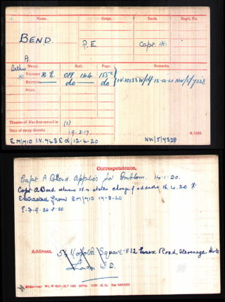 Captain Arthur Bend, Royal Engineers, Medal Index Card | The National Archive