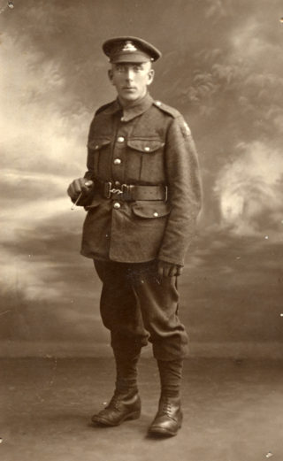 A photograph from the family archive believed to be Pte Henry Box, taken perhaps in 1918. His cap bears the characteristic badge of he Lancashire Fusiliers.   Courtesy of Janet Dammes