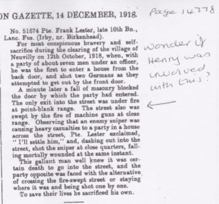A description of the action at Neuvilly, from the London Gazette, 14th December 1918, page 14778.   Courtesy of Janet Dammes