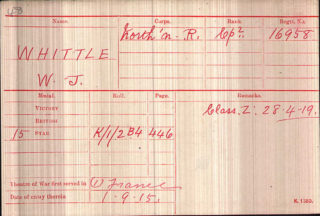 Corporal Walter Whittle's medal index card | Thanks to Jonathan D'Hooghe for providing this image.
