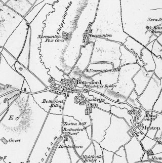 Bottesford and Muston as shown in the Ordnance Survey map of 1824. © Crown Copyright.