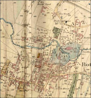 The centre of Bottesford, depicted on the Ordnance Survey '12-inch' map of Bottesford, 1884, © Crown Copyright.