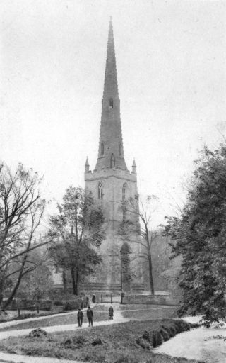 St Mary's spire and tower looking over the ford at Rectory Lane.