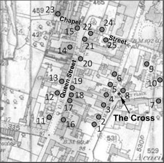 Reproduction of part of the Ordnance Survey map, 1884, showing the centre and commercial area of Bottesford.  Locations are numbered as in the text. © Crown Copyright.