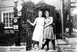 Nancy Goodson (Mrs Moulsher) and Jane Randell (Mrs Spick) outside Randell's shop, later Moulsher's Grocery. | Bottesford Local History Archive