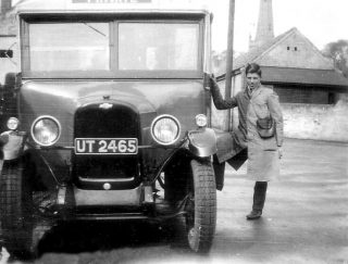 William Randell and Randell's bus. | Bottesford Local History Archive