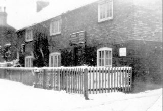 The Six Bells refreshment rooms on a snowy day, 1930s. | Bottesford Local History Archive