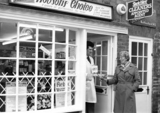 Mr Alan Millership and Mrs Barbara Hart (Mayor of Melton), outside Hobson's Choice.  | Bottesford Local History Archive