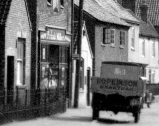 Frank Miller's Grocery and Hopkinson of Grantham van circa 1930. | Bottesford Local History Archive
