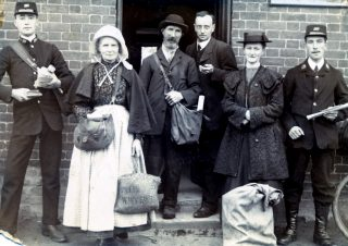 Post Office Staff in 1912 - C. Calcraft (far left); Mrs Skillington; J. Parnham; Mr White (Postmaster); Miss Dent or Miss Normand; and J. Rawdin (far right). | Bottesford Local History Archive