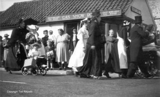 The Gas Showroom in 1951, pictured during the Festival of Britain village parade. | Bottesford Local History Archive, ©Ted Rayson