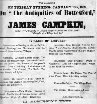 Advertisement for a public lecture in 1859 by James Campkin, headmaster of Bottesford School. | Bottesford Local History Archive