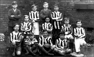 Bottesford School footballers, 1929.  Back row (left to right): Albert Cooper, Henson, Jallands, Hector Johnson; Middle row: Eric Turner, Bellamy, Arthur Piccard, Pip Lane; Front row: Braithwaite, Jim Taylor, Walter Bateson, Jim Miller.                          | Bottesford Local History Archive
