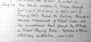 An extract from the school Log Book for August 14th, 1940.       Courtesy of  Bottesford Primary School. | Bottesford Local History Archive