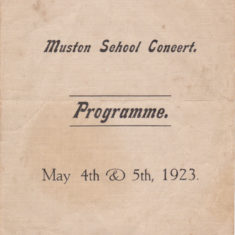 Muston School Concert Programme, 4th & 5th May 1923. Outer cover.   Linda Clayton, Bottesford Local History Archive