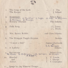 Muston School Concert Programme, 4th & 5th May 1923. First part of concert programme.   Linda Clayton, Bottesford Local History Archive
