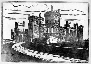 Linocut print of Belvoir Castle made by the pupils at Bottesford School and published in 'The Bottesfordian' school magazine, 1930s. | Bottesford Local History Archive