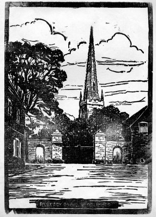 Linocut print of Bottesford parish church made by the pupils at Bottesford School and published in 'The Bottesfordian' school magazine, 1930s. | Bottesford Local History Archive