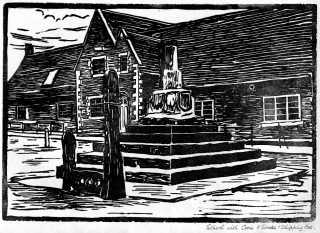 Linocut print of Bottesford Market Cross and the village school, made by the pupils at Bottesford School and published in 'The Bottesfordian' school magazine, 1930s. | Bottesford Local History Archive