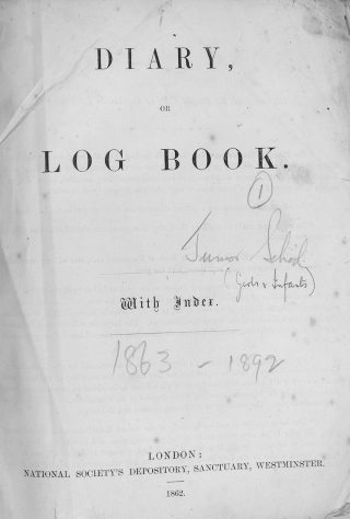 The title page of the Bottesford Primary School log book, 1863-1892. | Bottesford Local History Archive
