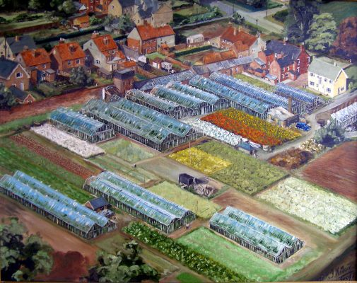 A painting showing an aerial view of The Vineries, Belvoir Road. | Mrs Jill Bagnall and Bottesford Local History Archive