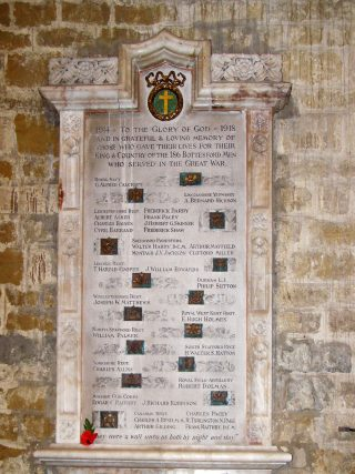 Bottesford War Memorial - the marble panel First World War memorial mounted in the south aisle of St Mary's parish church. The Second World War panel is directly below it. | Bottesford Local History Archive