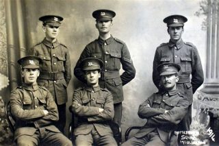 Bottesford volunteers: above - Bill Christmas front left, Charlie Calcraft centre rear. | Bottesford Local History Archive