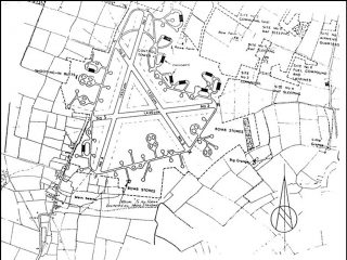 A map of RAF Bottesford, showing its relationship to the farming village of Normanton and Bottesford Station (bottom left).  The farms and cottages of Normanton lie along the road, Normanton Lane, which runs approximately northwards from Bottesford, and was closed during the war near the end of No.5 runway. | Bottesford Local History Archive