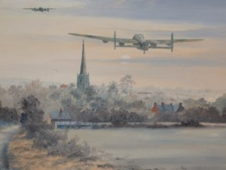 Heavily laden Lancaster bombers departing from RAF Bottesford pass over St Mary's spire. Watercolour painted by local artist R.E.White (shown by permission of Mrs. A. Kapellar).                  | Bottesford Local History Archive